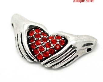 Heart and hands 34 * 17 mm red rhinestone connector