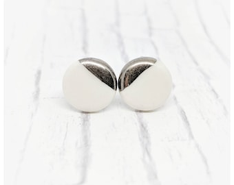 Porcelain earrings white gold studs white gold earrings ehite gold studs Porcelain jewelry gift nickel free earrings porcelain studs