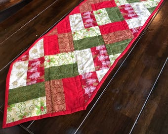 Christmas tablerunner, handmade pieced tablerunner, pieced, quilted table runner, Holiday table runner, Red and Green with gold table runner