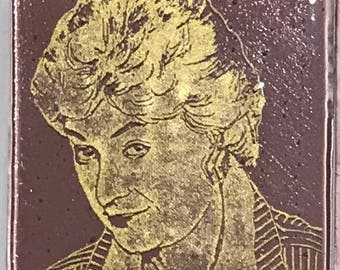 Bea Arthur Fused Glass Coaster, Golden Girls Coasters, Famous People Coasters