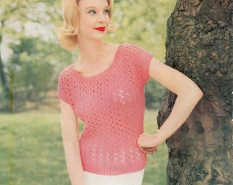 Vintage Knitting Pattern - Dainty Summer Jumper worked in Double Knit Weight Yarn - Instant PDF Download