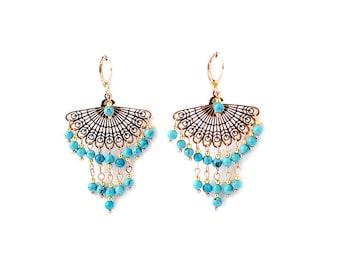 Rose Gold Dangle Earrings Turquoise Earrings with Turquoise Beads Earrings for Women Earrings Gold Earrings Chandelier Earrings for Wife