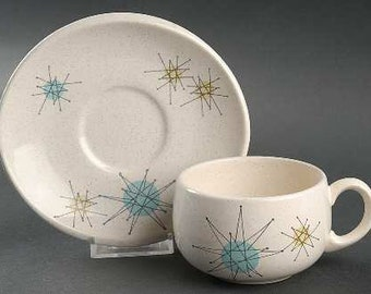 Starburst by Franciscan earthenware Vintage 1950s flat cup and saucer set!
