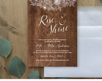 Wedding Brunch Invitation Template, Printable Rise and Shine Brunch Invite, Rustic Wood, Instant Download, 100% Editable, Digital #025-104BR