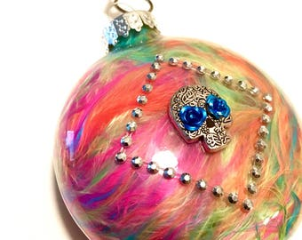 """Set of Two 4"""" Round Sugar Skull Feather Filled Glass Day of the Dead Ornaments"""