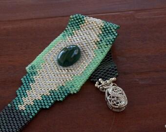 Déclaration de perles - Bracelet de perles tissage Peyote - perles Bracelet - OOAK - Bracelet en perles Peyote - Pierre Malachite