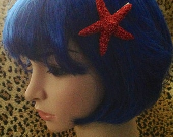 Red, glitter,Starfish, ocean, Beach wedding, tropical wedding, bridal, starfish barrette, starfish hair clip, mermaid