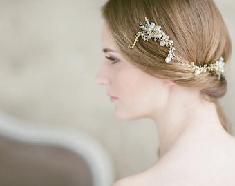 Wedding Hair Accessories , Wedding Hair Comb, Pearl Crystal Hair Comb , Freshwater Pearl Wedding Headpiece, Gold Bridal Hairpiece