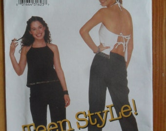 Butterick Pattern 6573 - Uncut for making Teen Top and Pants in sizes 1/2 thru 7/8