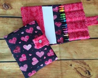 Valentine kids gift, soft toy, fabric crayon holder, crayon wallet, crayon organizer, Girls gift, hearts, glitter, on the go activities