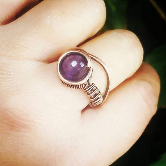 Amethyst Ring Draht Draht gewickelt Ring Edelstein Ring Draht