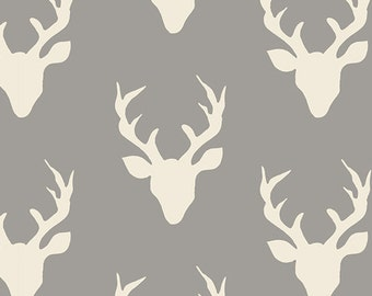 Gray Deer Head Fabric, Antler Material By the Yard,  Modern Woodland Cotton, Art Gallery, Buck Forest Mist, Grey