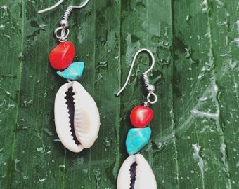 Turquoise, red bead and sea shell earrings