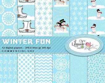 50%OFF Winter digital papers, Snow digital papers, Christmas digital papers, snowman digital papers, digital scrapbook papers, P337