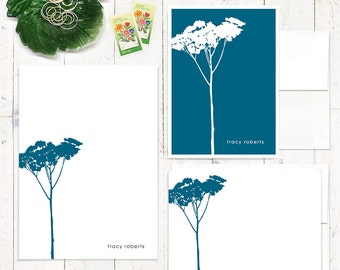 complete personalized stationery set - TREE - personalized stationary set - note cards - notepad - choose color