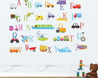 Alphabet Wall Decal - Nursery Wall Decal - Transportation Wall Decal - Playroom Wall Decal - Car Wall Decal - Play Room Wall Decal 01-0049
