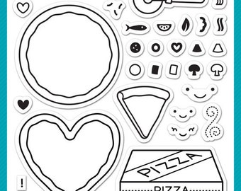 Lawn Fawn Pizza My Heart Photopolymer Clear Stamp Set, Scrapbooking/Stamping/Paper Crafts