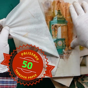 50 Sheets of Image transfer paper for using on wood, canvas and lots more - transfer is made by acrylic Gel Medium -