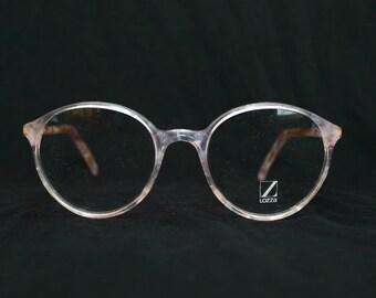 Lozza Elliot 80's Round Eyeglasses Marble White Gold New Old Stock 1980's Eye Glasses Frame Size 49-19-145 Color 494 Large Men's Panto Nerd