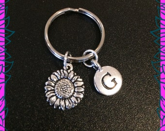 Sunflower keychain, personalised sunflower keyring, letter G initial, flower gift for her UK