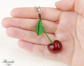 Red Cherry Necklace Cherry jewelry Romantic berry Red cherry pendant Cherry style Cherries necklace Cherries berry Green leaf cherry gift