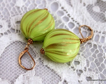 Venetian HOLLOW Lampwork EARRINGS - KIWI Lime & Gold - Gold Filled Ear Wires - Ready to Ship Made in Usa