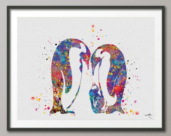 Penguin Family Watercolor Art Print Wedding Gift Love Nursery Wall Art Giclee Wall Decor Art Home Decor Wall Hanging Housewares  [NO 606]