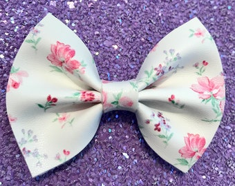 Floral Faux Leather Bow