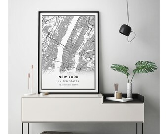 New York map print | Scandinavian wall art poster | City maps Artwork | United States gifts | Map Artwork | M1