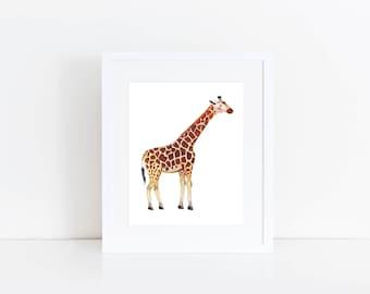 Giraffe Print - EcoFriendly, Eco, Green, Recycled, Gives Back, Wildlife Conservation, Watercolor, Baby, Safari