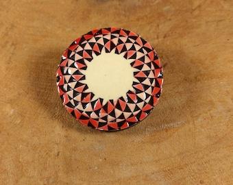 Vintage Brooch - Geometric Pattern - Triangle - Red and Black - Retro Jewelry - Twist