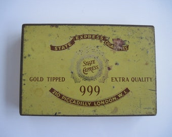 State Express 999 Gold Tipped cigarette tin (25/empty)  c.1920/40