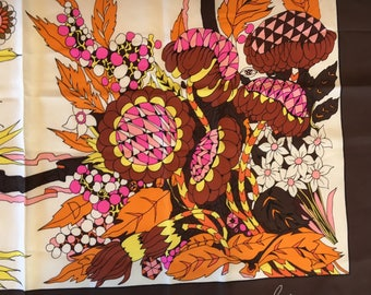 Bold Vintage 70s Floral Silk Scarf Bellotti Italy