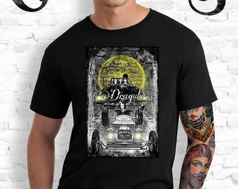 Dragula Black T-Shirt. Elvira. Vampira. Morticia Addams. Lily Munster. Rob Zombie. Munsters. Addam's Family. Horror. Goth