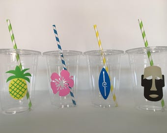 Luau Party cups, Luau Birthday cups, Tiki party cups, Tiki Birthday party cups, Pool Party Cups, Luau Baby Shower cups