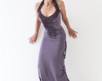 RUFFLE HALTER TOP - Stunning halter neck top - Goddess top - open back top - sexy unique top -