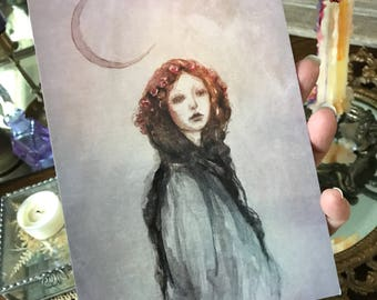 5x7 One Art Print from my Original Painting Victorian Witchcraft Full Moon Witch Goddess Faerie Halloween Gothic Folk Terri Foss