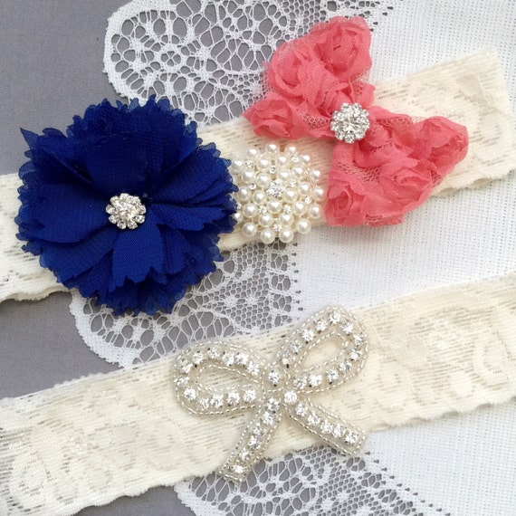 Wedding Garter Bridal Garter Coral Red Navy Blue Lace Garter