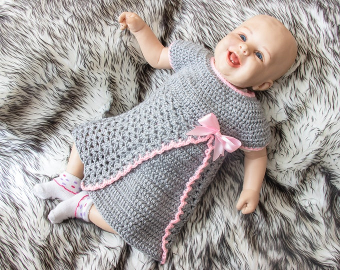 Crochet Baby Dress -  Crochet gray baby dress - Baby girl dress - Newborn dress - Pink and gray baby girl dress - baby girl clothes