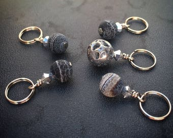 Many Moons: Set of 5 Genuine Stone Moon-Inspired Stitch Markers for Knitters and Crocheters