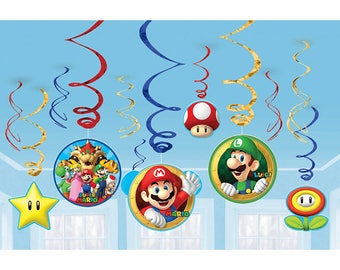 Super Mario Brothers Hanging Swirls Decorations [12ct] Video Gamer Birthday Party Backdrop Decor Supplies