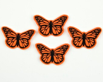 MONARCH BUTTERFLY - Embroidered Felt Embellishments / Appliques - Orange & Black  (Qnty of 4) SCF6045