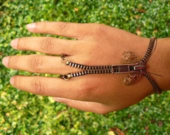 Steampunk Moth Zip-On Handflower Bracelet