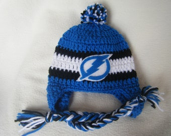 Crocheted TB Lightning Hockey Inspired In Team Colors or (Choose your team) Baby Beanie/Hat - Made to Order - Handmade by Me