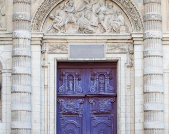 Paris Photo - Violet Church Doors, Ornate Doorway, French Home Decor, Large Wall Art, Paris Art Print, Travel Photography, Architecture