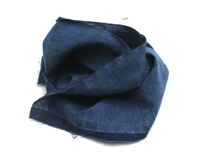 Japanese Indigo Cotton. Artisan Aizome Boro Textile. Blue Vintage Folk Fabric (Ref: 1745)