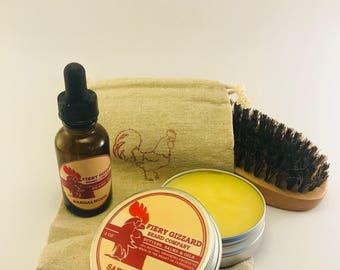 Beard Care Kit - Beard balm, Beard Oil, Beard comb or Beard brush - Grooming kit - beard conditioner, beard moisturizer Perfect men's gift -