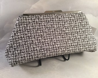 Black and White Medium Clutch Bag