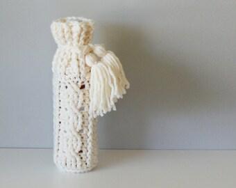 """DIY Crochet PATTERN - Crochet Cable Wine Bottle Cozy  Size: 4.5"""" diameter x 12"""" tall (2015025)"""