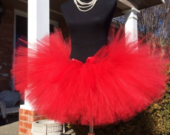 """Red Adult Tutu for waist 45 1/2"""" up to 55 1/2"""" great for Halloween, Birthdays, Dance and Bachelorette parties"""